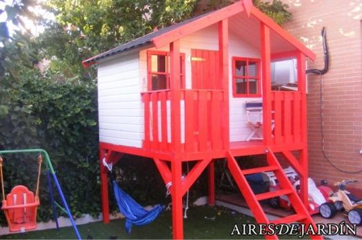 Instalaci n caseta de madera infantil toby 180x122 cm en - Caseta infantil madera ...