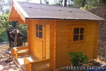 Caseta de madera infantil modelo sam instalada por nuestro cliente el sr alfredo de castellvell - Caseta infantil madera ...