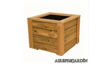 foto exterior Jardinera de madera de pino tratado en autoclave de 40x40x40 cm.