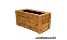 foto exterior Jardinera de madera de pino nórdico tratado en autoclave de 80x80x40 cm.