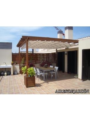 Pergola de madera adosada a pared barcelona 3 de 450x430 for Diseno techos exteriores
