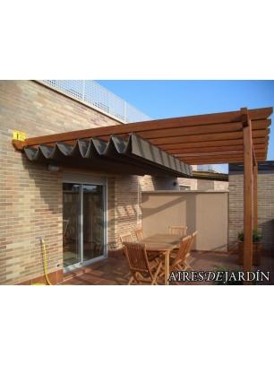 pergola de madera adosada a pared dublin 1 de 335x225 cm - Pergolas Madera