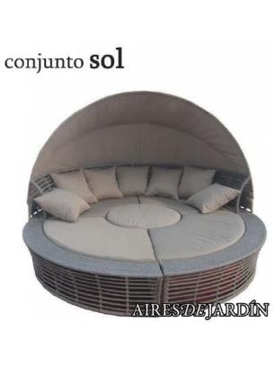 Conjunto sol aluminio rattan sint tico comprar muebles for Conjunto rattan sintetico barato