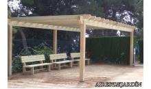 foto exterior Pergola de madera autoportante modelo Alella de 295x195 cm.