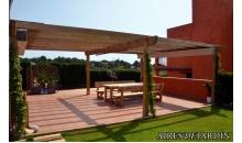 foto exterior Pergola de madera autoportante modelo Girona de 295x495 cm.