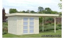 foto exterior Cabaña de madera Lara 1 con porche de 487 x 250 cm.
